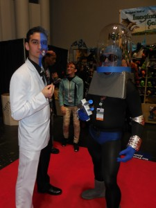 Cosplayers as the cartoon versions of Batman villains, Two-Face and Mr. Freeze